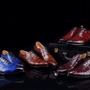 Genuine Crocodile Safety Work Derby Shoes