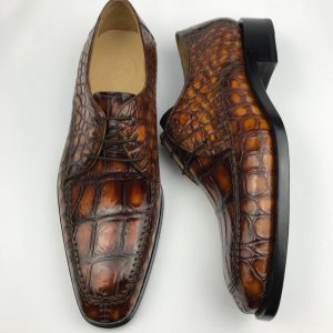 Derby Croc-Effect Leather Shoes