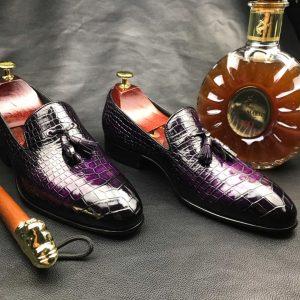 Genuine Crocodile Texture Penny Shoes
