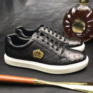 Ostrich Casual Leather Sneaker Shoes