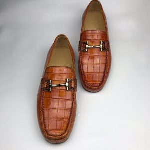 Mens Crocodile Loafers Slip on Boat Shoes