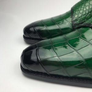 Men's Crocodile Cap Toe Double Monk Strap