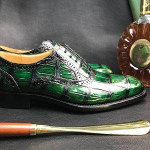 Crocodile Whole-Cut Leather Oxford Shoes