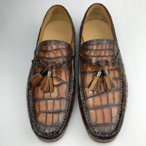 Crocodile Slip On Men Shoes Tassel Loafer