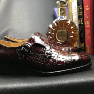 Crocodile Leather Slip-On Retro Elegant Monk Shoes