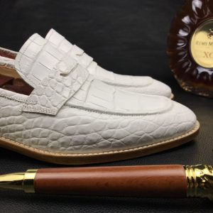 Mens White Genuine Crocodile Penny Loafers