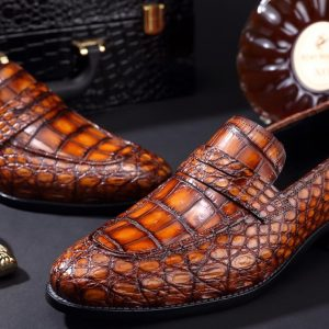 Croc Men's Genuine Exotic Loafer Shoes