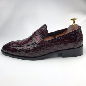 Dress Shoes Crocodile Print Loafer Genuine Leather