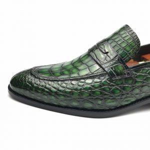 Men Penny Loafer Slip on Crocodile Texture