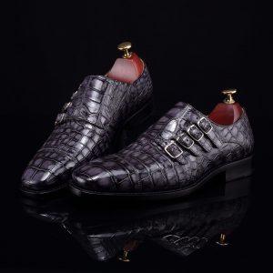 Handmade Crocodile Monk Strap Men's Leather Dress Shoes