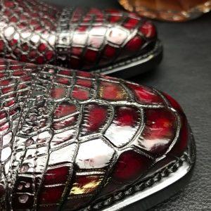 Genuine Leather Oxford Handmade Crocodile Lace Up Shoes