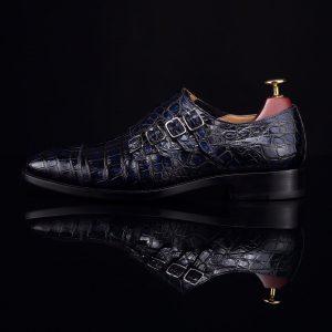 Men's Crocodile Pointed Toe Monk Slip-On Shoe