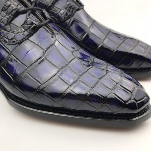 Blue Classic Crocodile Embossed Leather Dress Shoes