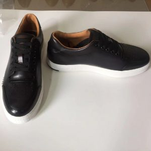 Men Rubber Trainers Black Leather Sneakers