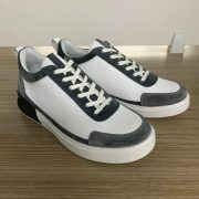 Grey and White Microfiber leather spell color sole trainers MBT210