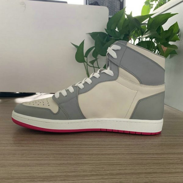 Grey and Beige High Top AJ style Sneakers 1985 Shape MBS107